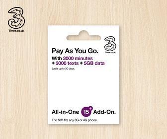 歐洲電話卡 - 3UK 4G/3G 歐洲 5GB 國際數據及電話卡